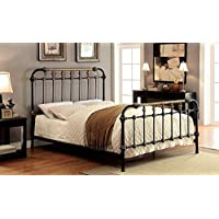 Riana Contemporary Metal Ek Size Bed, Black Finish
