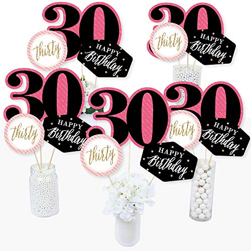 Chic 30th Birthday - Pink, Black and Gold - Birthday Party Centerpiece Sticks - Table Toppers - Set of 15 ()