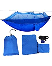 Jinyank Portable Camping Travel Hammock Hanging Bed with Mosquito Net Hanging Bed (Gray Mosquito Net)