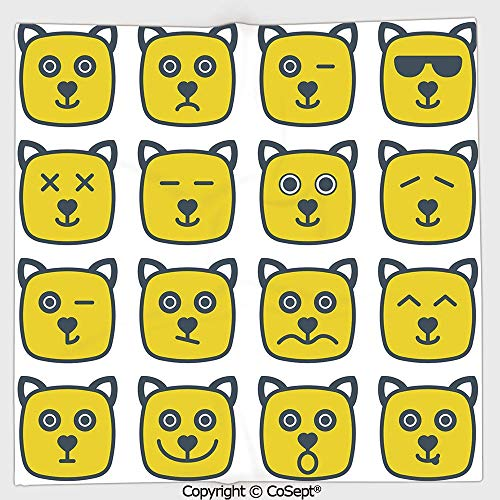 Quick-Dry Square Towel,Cat Dog Like Animal Smiley Face with Expressions Angry Happy Sad Fancy Moods Art,Highly Absorbent Cleaning(9.84x9.84 inch),Yellow and Grey