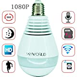 SkyWorld 1080P Camera Light Bulb WiFi Security Camera with 360 Degree 1.3MP Fisheye Lens Wireless WiFi Panoramic AP Mode Bulb Camera IP Camera for Home White Led Lights and Bulb with Two-Way Talking