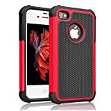 iPhone 4s Case ,[Corner Protection] Protective Case Detachable Defender Thin Protective Anti-dirt Scratch Resistant Hard Soft Heavy Duty Rubber Bumper Cover for iPhone 4 4s(Black/Red)