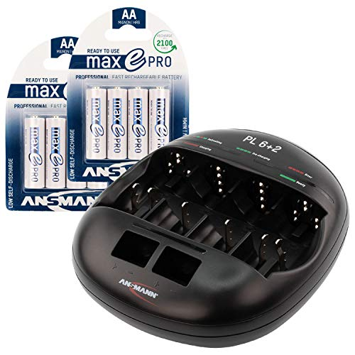 (ANSMANN Individual Cell Battery Charger Powerline 6+2 for NiMH Rechargeable Batteries AAA, AA, C, D, 9V - 8 Bay Universal recharger Plus 8-Pack maxE PRO 2000mAh Double A)
