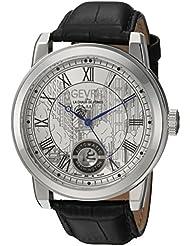 Gevril Washington Mens Swiss Automatic Black Leather Strap Watch, (Model: 2620L)