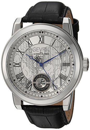 Gevril-Mens-Washington-Swiss-Automatic-Stainless-Steel-and-Leather-Casual-Watch-ColorBlack-Model-2620L