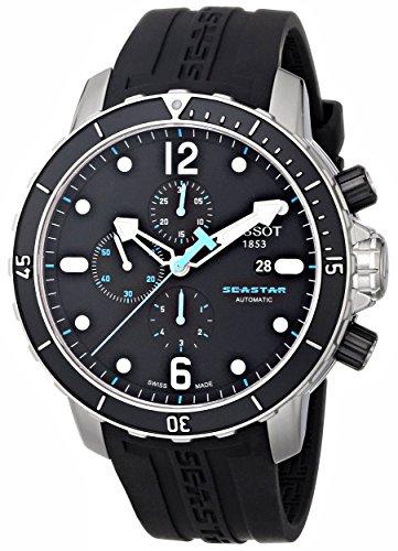 Tissot Men's T0664271705700 Seastar 1000 Black Chronograph Dial Watch