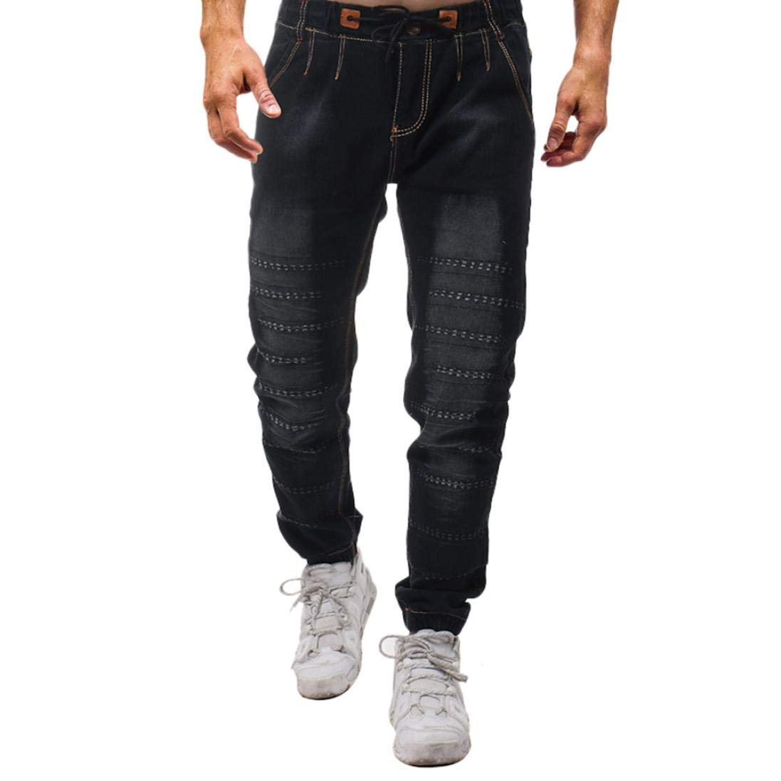 Realdo Hot!Clearance Sale Mens Casual Slim Personality Solid Elastic Splice Work Cargo Trousers Jeans Jogger Pants(30,Black) by Realdo (Image #1)