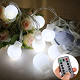[Remote & Timer] String Lights Battery Operated - AITOO 5 Meter 50 Led Outdoor Globe String Lights 8 Modes With Remote Control For Garden Yard Home Decor Christmas Wedding Party(Cool White)