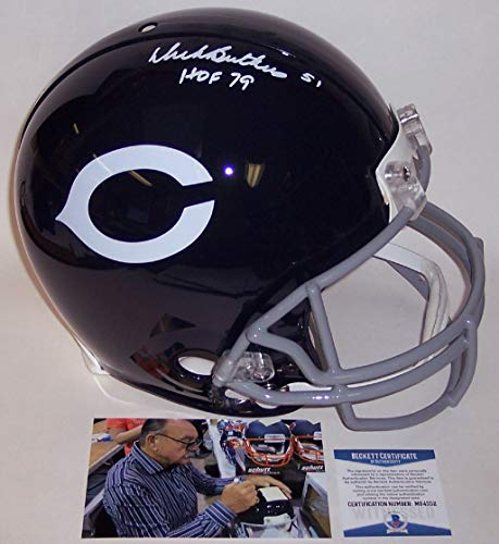 Dick Butkus Autographed Hand Signed Chicago Bears Throwback Full Size Authentic Pro Football Helmet - with HOF 79 Inscription - Beckett