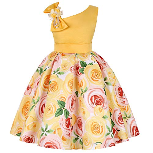 One Shoulder Printed Dress for Girls Princess Flower Wedding Pageant Party Dresses,Yellow,4T -