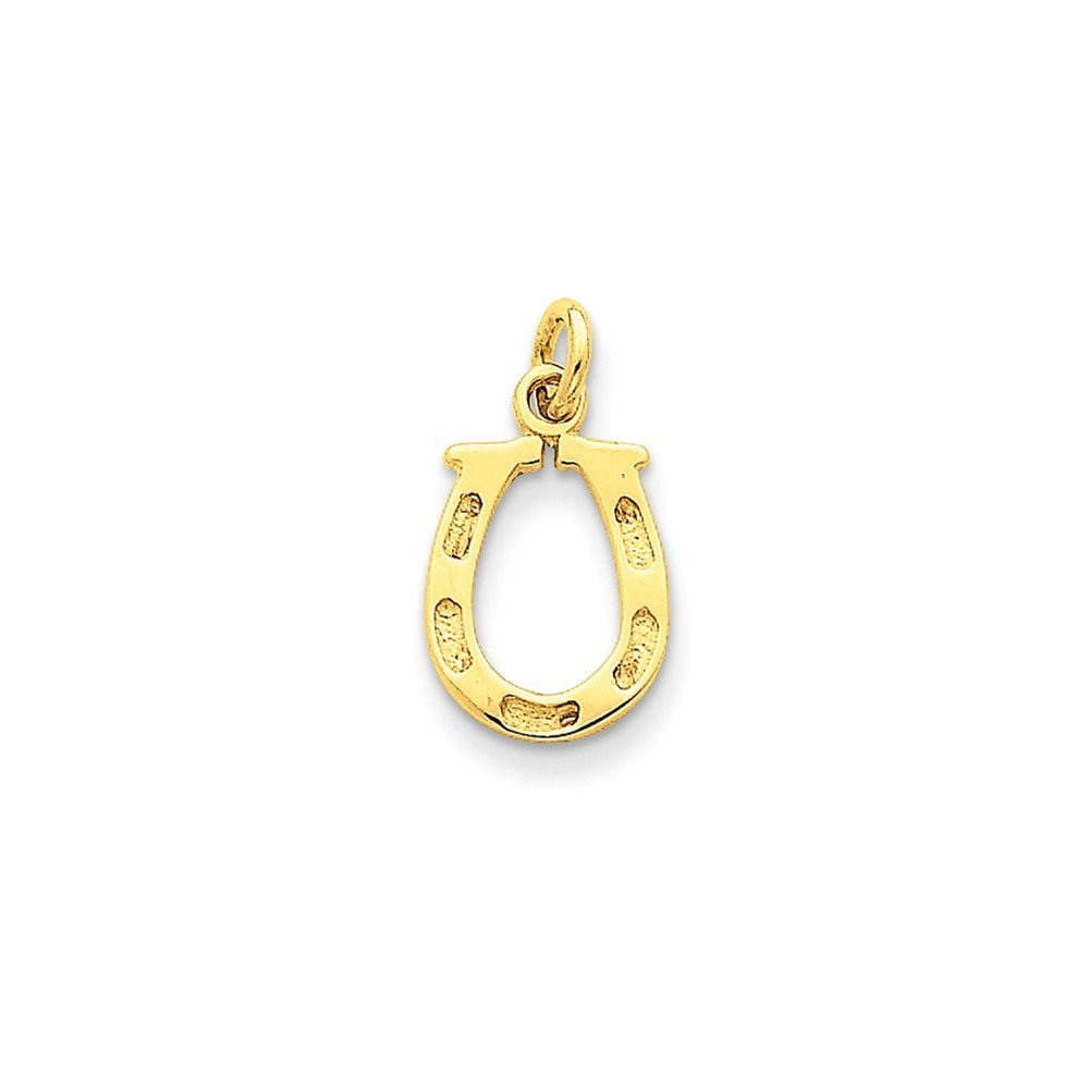 0.79 in x 0.39 in 14K Gold Solid Polished Horseshoe Charm Pendant