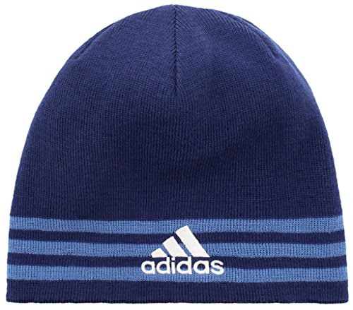 adidas Boys / Youth Eclipse Reversible Beanie, Dark Blue/Trace Royal/Clear Grey/Dark Blue, One Size