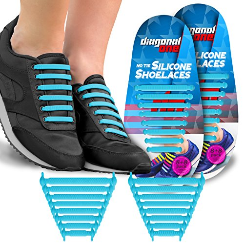 Diagonal One Diagonal One No Tie Shoelaces for Kids & Adults. The Elastic Silicone Shoe Laces to Replace Your Shoe Strings. 16 Slip On Tieless Flat Silicon Sneakers Laces (Blue) price tips cheap
