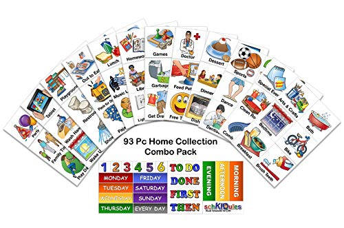 SchKIDules 93 Pc Home Collection Combo Pack for Visual Schedules, Kids Calendars and Behavior Charts: 72 Home-Themed Activity Magnets Plus 21 Headings Magnets (2nd Ed) ()