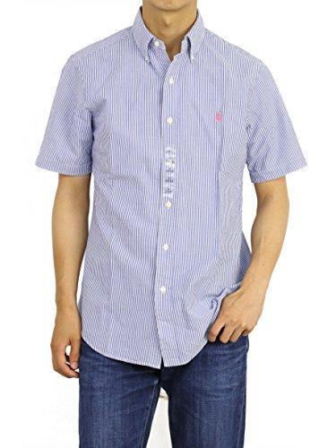 Polo Ralph Lauren Mens Short Sleeve Seersucker Sport Shirt (Basic Blue, X-Large)
