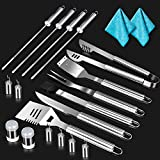 Masthome 18 Piece BBQ Grill Tool Set with Aluminium Storage Case and 2 Cleaning Cloth Stainless Steel Barbecue Grilling Utensils for Outdoor BBQ