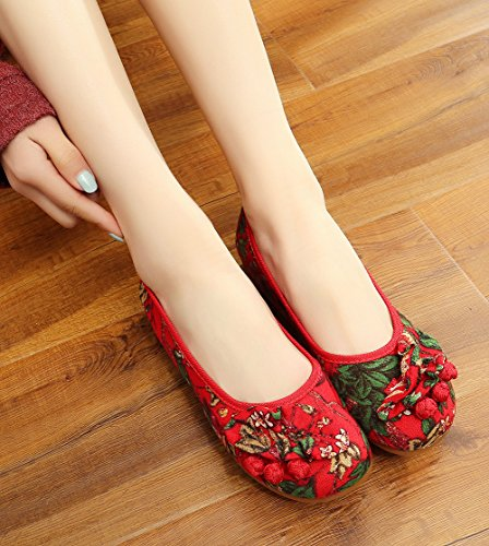 AvaCostume Floral Printing Round Toe Ruffles Womens Loafer Shoes Red SBgXWpGT6