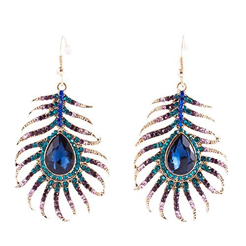 tal Hook Earrings Sparkling Rhinestone Peacock Feather Dangle Earrings ()