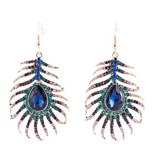 Frogwill Womens Crystal Hook Earrings Sparkling Rhinestone Peacock Feather Dangle Earrings]()