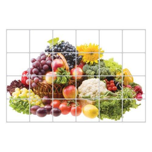 SODIAL(R) 60x90cm Wallpaper Kitchen Decor Anti Oil Self adhesive Tile Wall Paper Sticker Patterns:Fruits