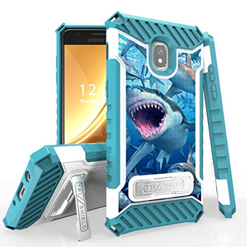 Beyond Cell Case Compatible Samsung Galaxy J3 Orbit, Military Grade Drop Tested [MIL-STD 810G-516.6] Kickstand Cover Case Atom Cloth J3 Orbit - Sharks from Bemz Depot