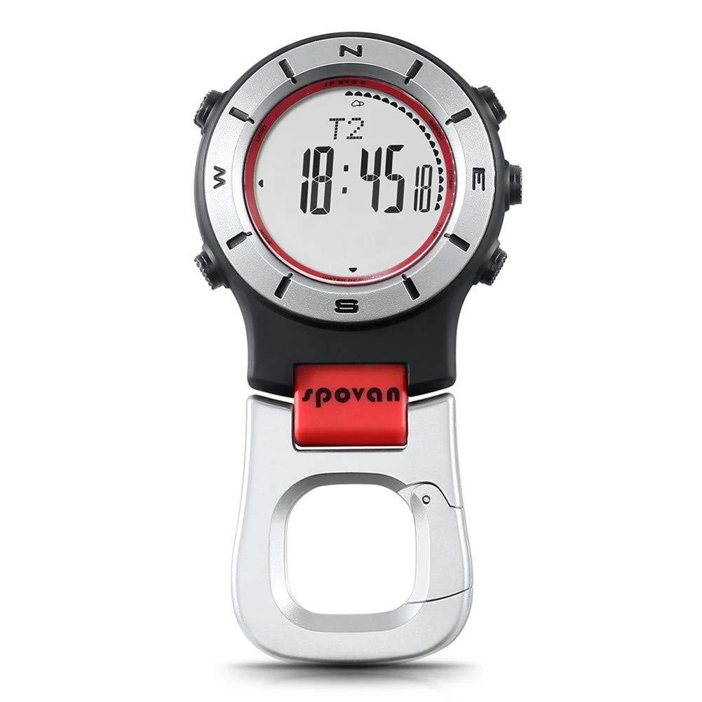 SPOVAN Smartwatch Höhenmesser-Barometer-Kompass-LED-Clipuhren Sportuhren Angeln Wandern Klettern Taschenuhr,ROT