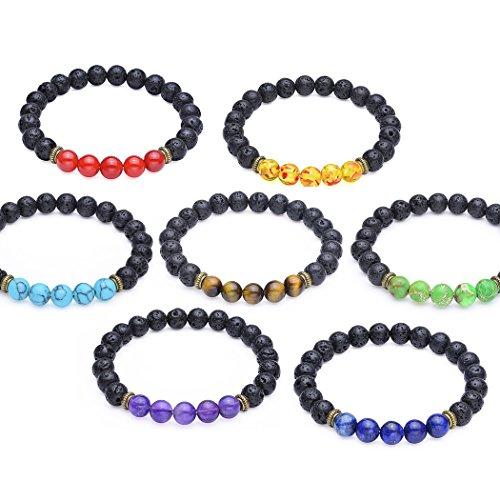 (8mm Seven Chakra Bead Bracelets - Elastic Natural Gemstone Healing Yoga Bracelet, Set of 7)
