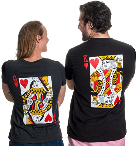 Ann Arbor T-shirt Co. King & Queen | Matching Couples Husband Wife Bridal Wedding Newlywed T-Shirts-(Queen,M)