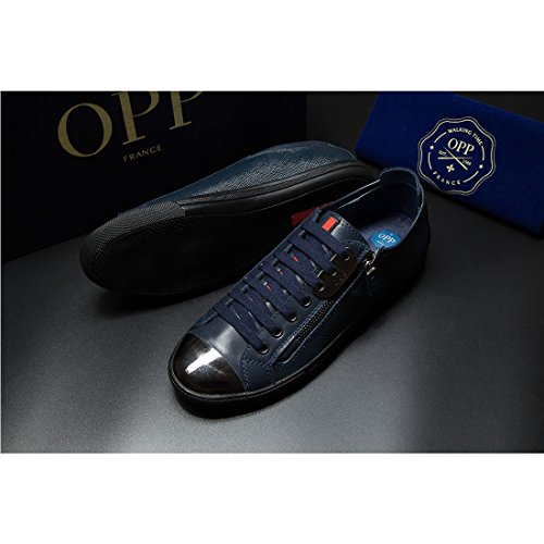 in 6568 Casual OPP up Leather Lace 2blue Men's Shoes 0xRfXx