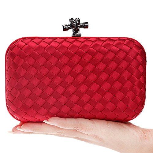Evening Bag Bag Weaving Banquet Bag Dinner Red GROSSARTIG Ladies Fashion Hand 1qEUwwgx