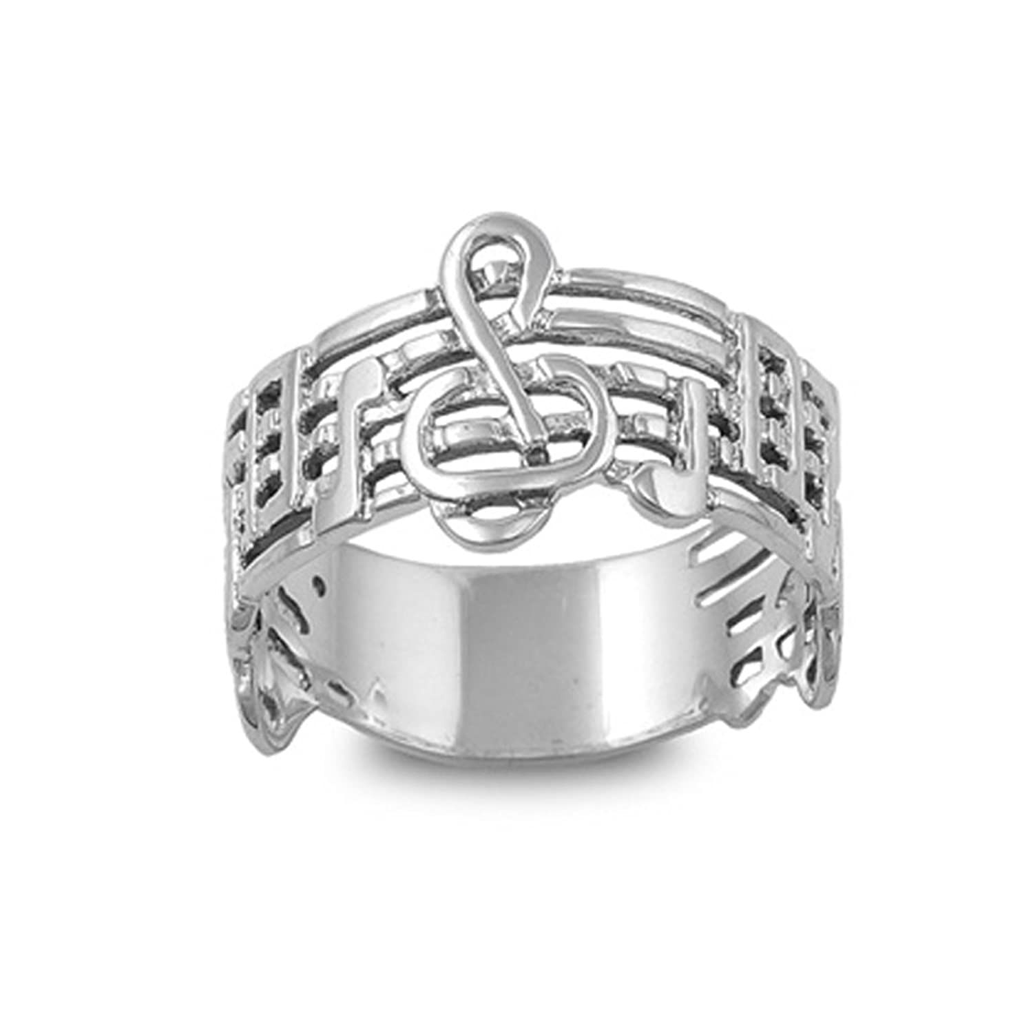 .925 Sterling Silver Music Staff Ring