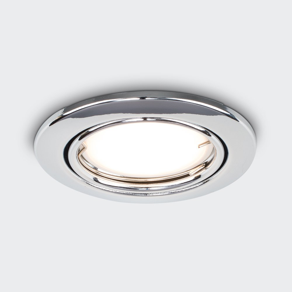 MiniSun Fire Rated Polished Chrome Tiltable GU10 Modern Round Recessed Ceiling Downlights Pack Of 6
