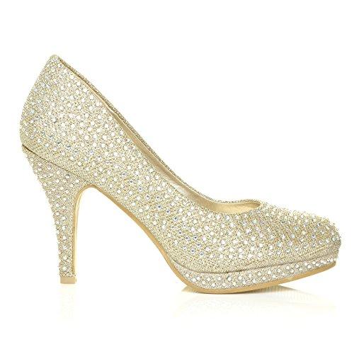 BAILEY Oro A rete Diamante Nozze/Da sposa/Ballo Scarpe Da Sera