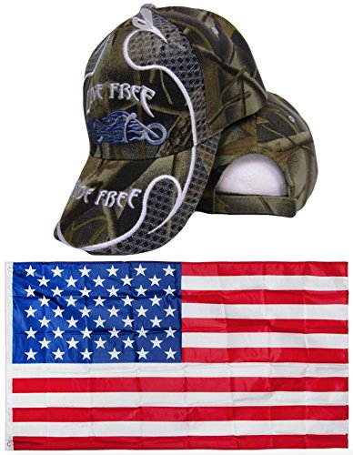 Camo Camouflage Live Free Ride Free Motorcycle Embroidered Hat Cap & USA Flag 3x5 Super Polyester Nylon 3'x5' Banner Grommets Double Stitched Premium Quality