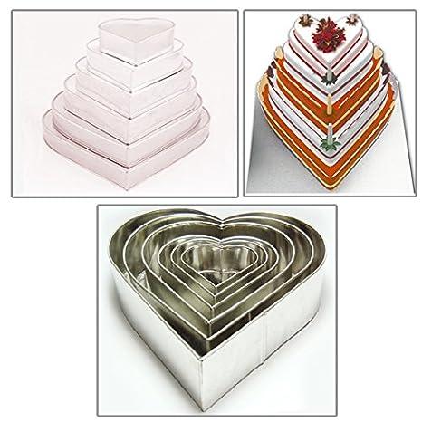 Euro Tins 6 moldes de tarta de cumpleaños aniversario de boda de San Valentín corazón latas