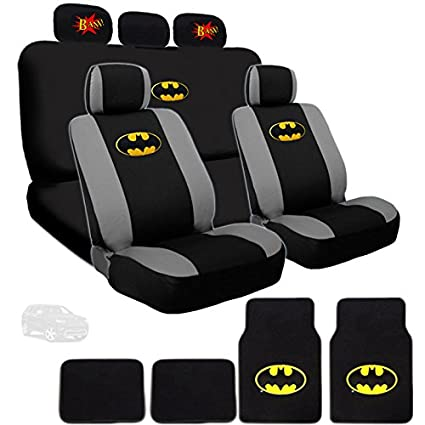 Ultimate Batman Car Seat Covers And Floor Mats Bundled With Classic BAM Logo Headrest Gift