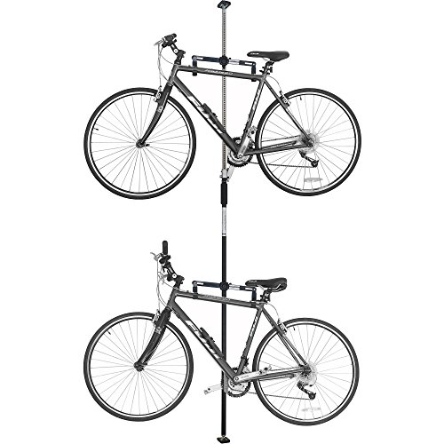 SPAREHAND Q-RAK II Floor-to-Ceiling Freestanding Adjustable Bike Rack Storage, Max Weight Limit 80 lbs, Black ()