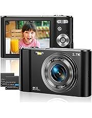 Digitale Camera 2.7K Ultra HD Mini Video Camera 44MP 2.8 Inch LCD Oplaadbare Studenten Compacte Camera Pocket Camera met 16X Digitale Zoom Youtube Vlogging Camera voor Kinderen, Volwassene, Beginners