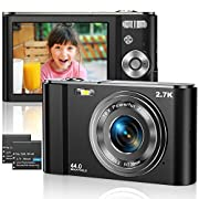 Digital Camera 2.7K Ultra HD Mini Video Camera 44MP 2.8 Inch LCD Rechargeable Students Compact Camera Pocket Camera with…