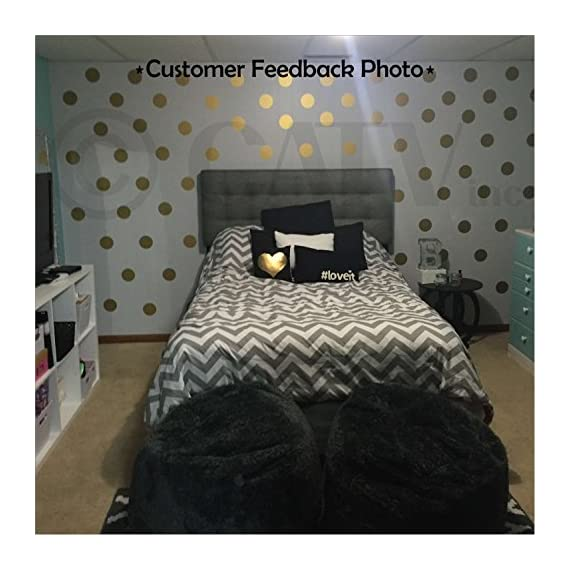 """6x6 Set of 24 Polka Dot Circles vinyl lettering decal home decor wall art saying (Gold) - Each dot measures 6"""" H x 6"""" W Made from top of the line Oracal 631 Self Adhesive Vinyl - Transfer Tape Application instructions are included with each order, along with a technical support phone number and links to YouTube installation videos - living-room-decor, living-room, home-decor - 51DBW0T%2Bj0L. SS570  -"""