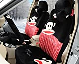 Sexy Women Car Seat Covers Soft Plush 18pcs Wholesale Universal Front and Back Seat Covers Car Steering Wheel Cover Neckrest Covers (red+black)