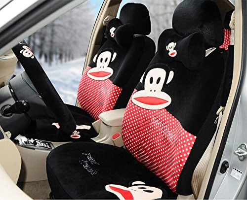 Sexy Women Car Seat Covers Soft Plush 18pcs Wholesale Universal Front and Back Seat Covers Car Steering Wheel Cover Neckrest Covers (red+black) by kk