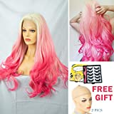Pink Lace Front Wig Ombre White Blonde Root Long Synthetic Wigs Long Wavy 24 Inch,+2 pcs Wig Caps+5 pairs Eyelashes