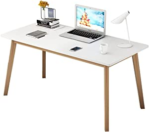 IOTXY Home Office Writing Desk - 100CM Width Modern Solid Wood Laptop Computer Workbench for Work and Study, TV Table, Live Desk, White/Oak