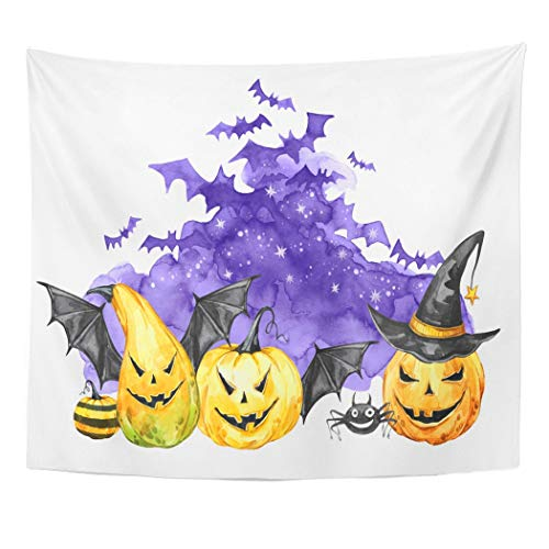 Emvency Wall Tapestry Autumn Watercolor Scary Night Flock