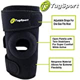 Knee Brace By TugSport with Dual Side Stabilizer - Adjustable One Size Fits Most - Best Support for ACL, Meniscus Tear, Arthritis and Injury Recovery - Black