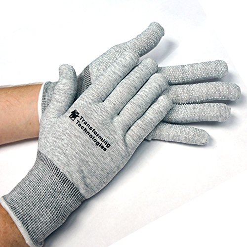 StaticTek GL4500D ESD Safe Work Gloves-Lightweight Static Dissipative Glove Fabric for Static Control in Electronic-Computer Work Stations,Dot-Covered Palm ESD Gloves-XL,Pack of 12 (Static Dissipative Floor)