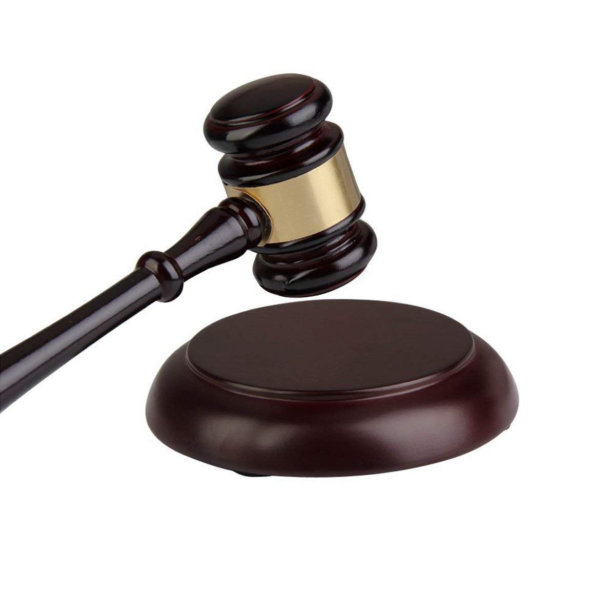 Wood Gavel and Round Block Set for Lawyer, Student, Judge, Auction Sale, Teaching Meetings, Unique Craft Gifts Toys by Tescogo
