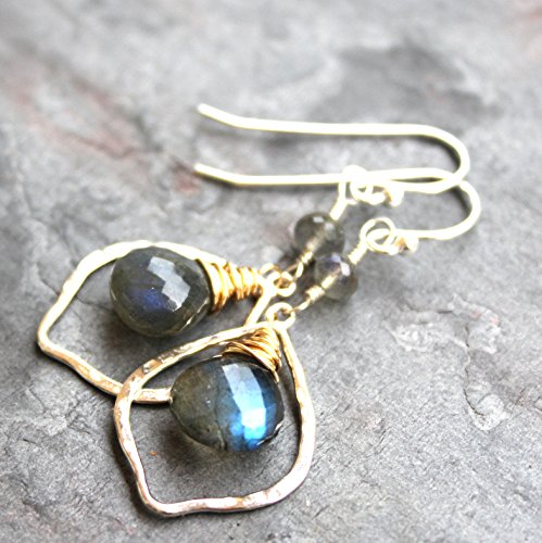 - Sterling Silver Gold Filled Labradorite Earrings Two Tone Mixed Metals Gray Gemstone Hoops