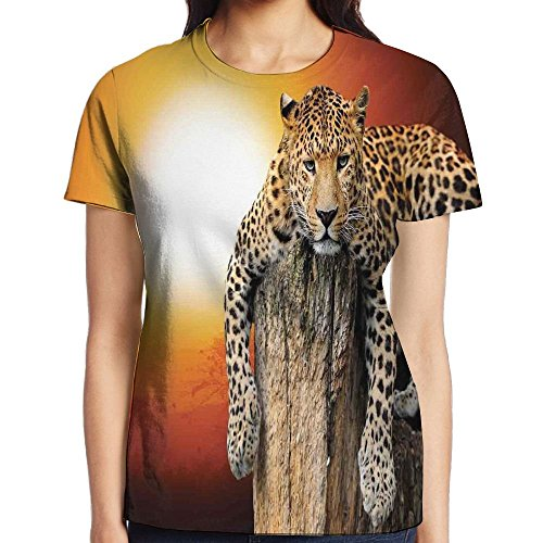 WuLion Leopard Sitting On Dry Tree at Sunset Danger in The Air Big Cat with Spotted Form Image Women's 3D Print T Shirt White – DiZiSports Store
